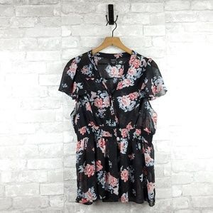 Torrid Sheer Floral Cinched Blouse   Plus Size 1X